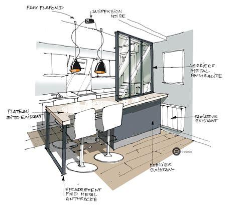 croquis cuisine ouverte avec verrière et suspension métal