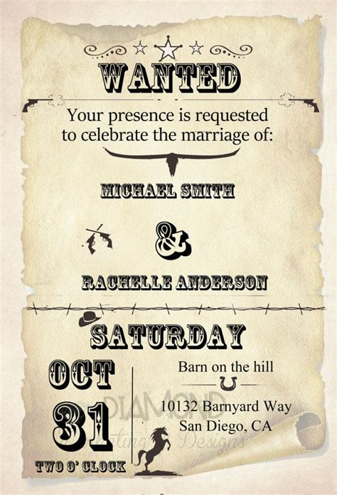 wild west wedding invitation  rachellesinvites  etsy