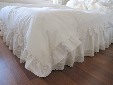 white bedspread with ruffles eyelet dust ruffle bedskirt scalloped edge lace by nurdanceyiz