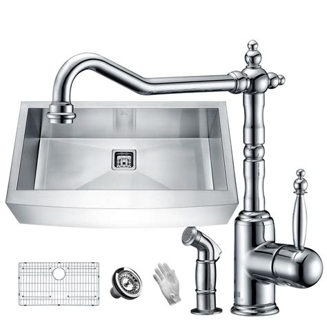 kitchen faucets for farmhouse sinks anzzi elysian farmhouse stainless steel 36 in single bowl