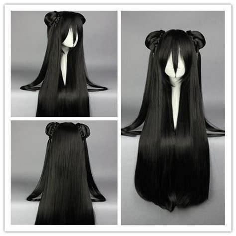 cm synthetic long straight black anime wig cosplay