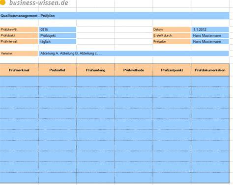 qualitaetsmanagement pruefplan  business wissende
