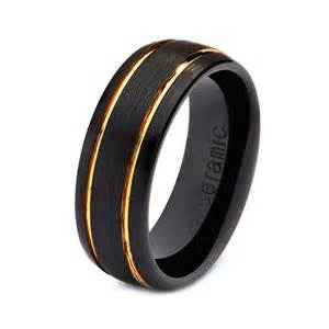 black wedding bands for mens womens ceramic wedding band ring 8mm 18k yellow gold black 5 15