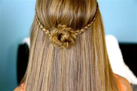 braided flower tieback hairstyles for long hair cute