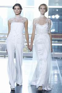 white hot trend not your mother39s wedding dress onewed With wedding dress pants