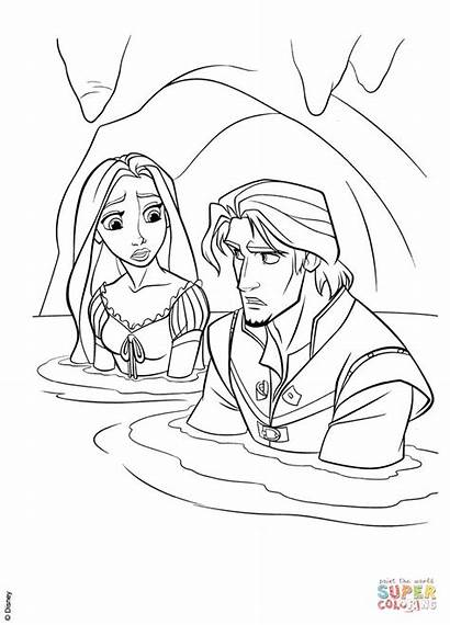 Rapunzel Coloring Flynn Cave Pages Printable Tangled