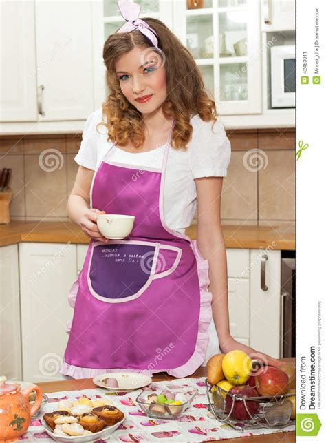 sexy woman   kitchen stock photo image