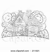 Cabin Coloring Winter Log Outline Interior Scene Outside Bears Cottage sketch template