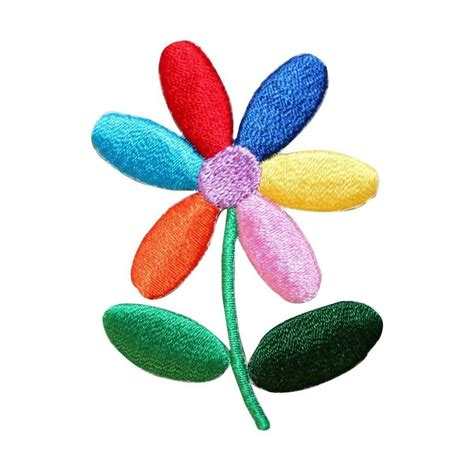 patch applique id 6844 colorful flower rainbow petals embroidered