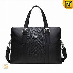 Black Cowhide Leather Slim Briefcase for Men CW914004