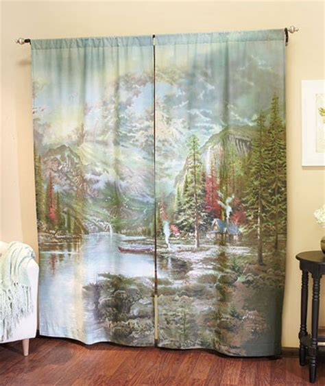 new kinkade curtain panel set quot mountain majesty quot window 72 quot x 84 quot ebay