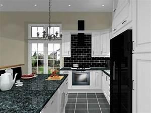 Cuisine blanche avec plan de travail noir 73 idees de for Kitchen colors with white cabinets with faire des fleurs en papiers