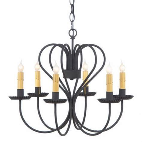 large wrought iron chandelier 6 candle primitive