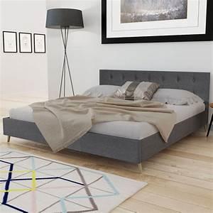 Lit En 180 : acheter lit en bois 200 x 180 cm avec rev tement en tissu gris fonc pas cher ~ Teatrodelosmanantiales.com Idées de Décoration