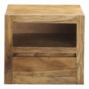 Chevet Bois Massif : table de chevet avec tiroir en bois de sheesham massif l ~ Teatrodelosmanantiales.com Idées de Décoration