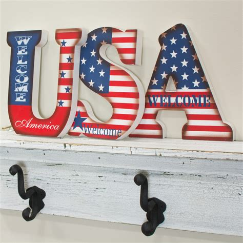 Letter Usa by Usa Patriotic Wooden Letters 7 Quot 95628 Craftoutlet