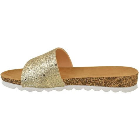 womens ladies flat sliders sandals glitter comfort summer