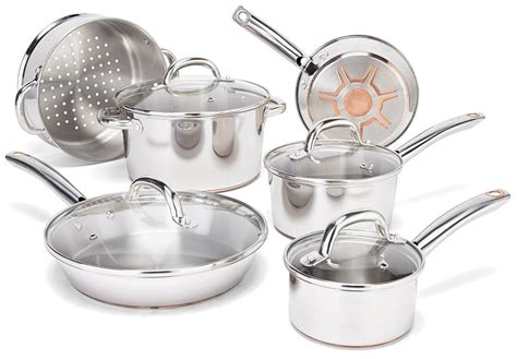 fal csa ultimate stainless steel copper bottom heavy gauge multi layer base cookware set