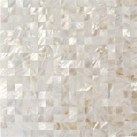 splashback tile of pearl white square pearl shell