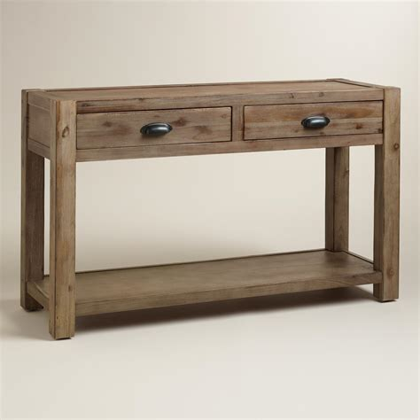 Wood Quade Console Table  World Market. Desk For Three Monitors. Technology Desk. Nfl Pool Table Felt. Wood Log Table. How To Build A Bed Frame With Drawers Underneath. Rustic Wood Dining Room Tables. 2 Drawer End Table. Kitchen Tables And Chairs