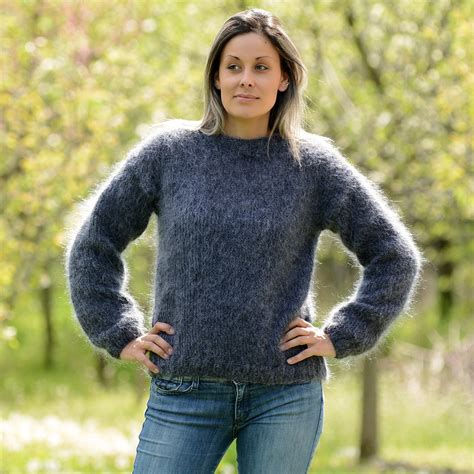 mohair sweater gray mix knitted crew neck mohair sweater by