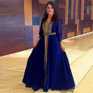 Robe De Mariage Marocaine : 2016 arabe musulmane manches longues robe de mariage robe hijab duba marocaine bleu royal ~ Preciouscoupons.com Idées de Décoration