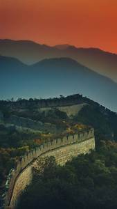 Great, Wall, Of, China, 4k, Wallpaper, Sunset, Orange, Sky, Mountains, Beijing, Green, Trees, Aerial