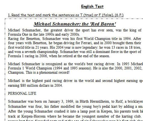 Michael Schumacher The 'red Baron' [test On Past Simple, Past Continuous And Present Perfect]