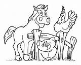 Coloring Farm Pages Horse Animal Pig Activities Fence Crafts Hen Diy Sounds sketch template