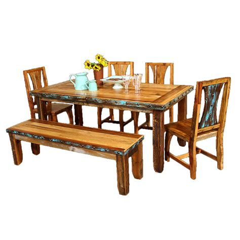 barnwood azul table chairs with bench and nailheads 6 pcs