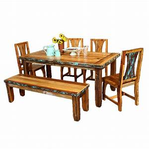 barnwood azul table chairs with bench and nailheads 6 pcs With chairs for barnwood table