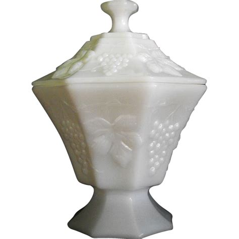 what is milk glass anchor hocking milk glass candy in grape pattern circa 1960s from orphanedtreasures on ruby lane