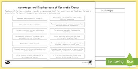 Renewable Resources Advantage Or Disadvantage Worksheet