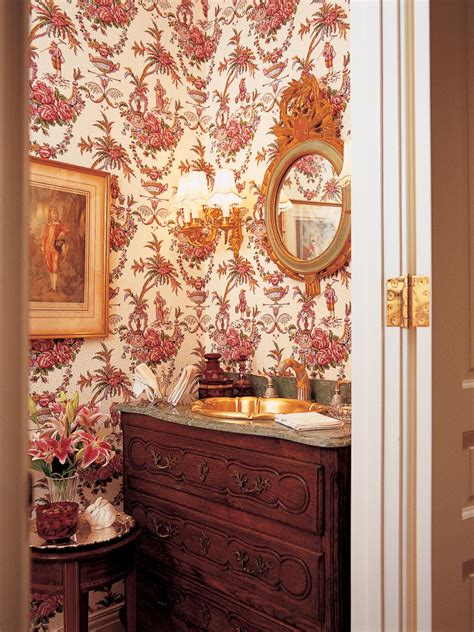 victorian powder room  red floral wallpaper hgtv