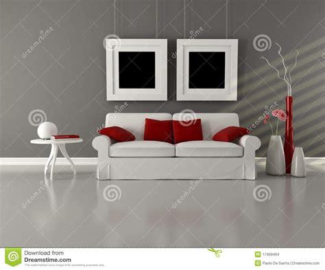 gray white  red minimalist living room stock