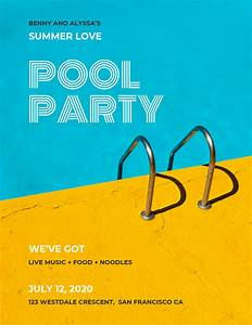 Colorful Modern Pool Party Event Poster Idea - Venngage ...