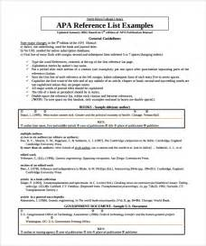 Apa Resume References by Sle Reference List Template 5 Free Documents