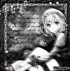little girl with teddy bear in the black world Picture ...