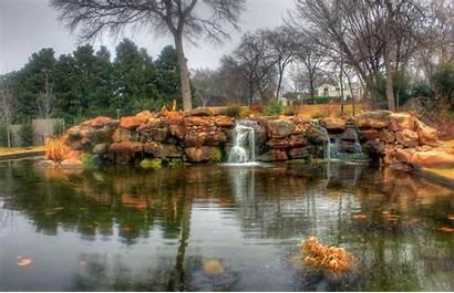 Scenery Texas Dallas Pond Waterfalls Landscape Arboretum