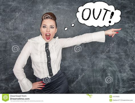 Angry Screaming Teacher Pointing Out Stock Photo
