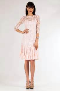 Blush Lace Cocktail Dress with Sleeves