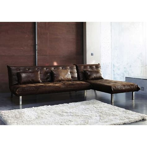 canape dangle convertible  places imitation cuir marron max maisons du monde objets deco