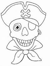 Coloring Pirate Pirates Skull Face Theme sketch template