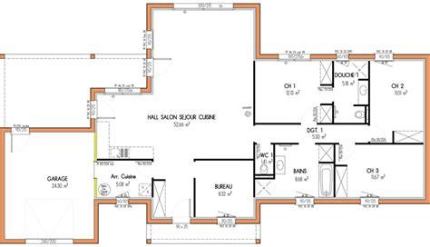 bureau de maison design plan de maison 100m2 3 chambres plan de maison rectangle