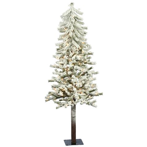 flocked alpine 5 white artificial christmas tree with 150