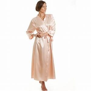 womens satin wrap peach With peach robe