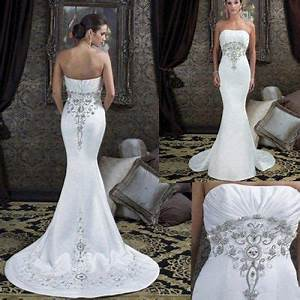 tight fitted long bridal dress with silver embroidery With tight fitted wedding dresses