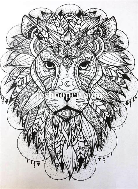 beautiful lion mandala adult colouring page