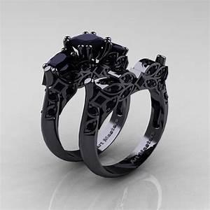 Designer Classic 14K Black Gold Three Stone Princess Black