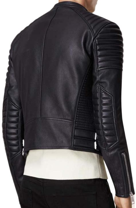 padded leather motorcycle jacket men 39 s asymmetrical zip black leather padded motorcycle jacket